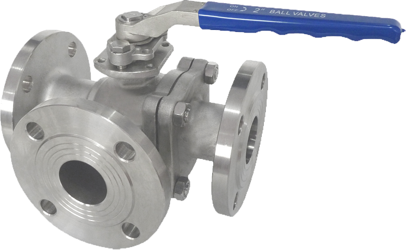 Flanged end, three-way SS ball valve