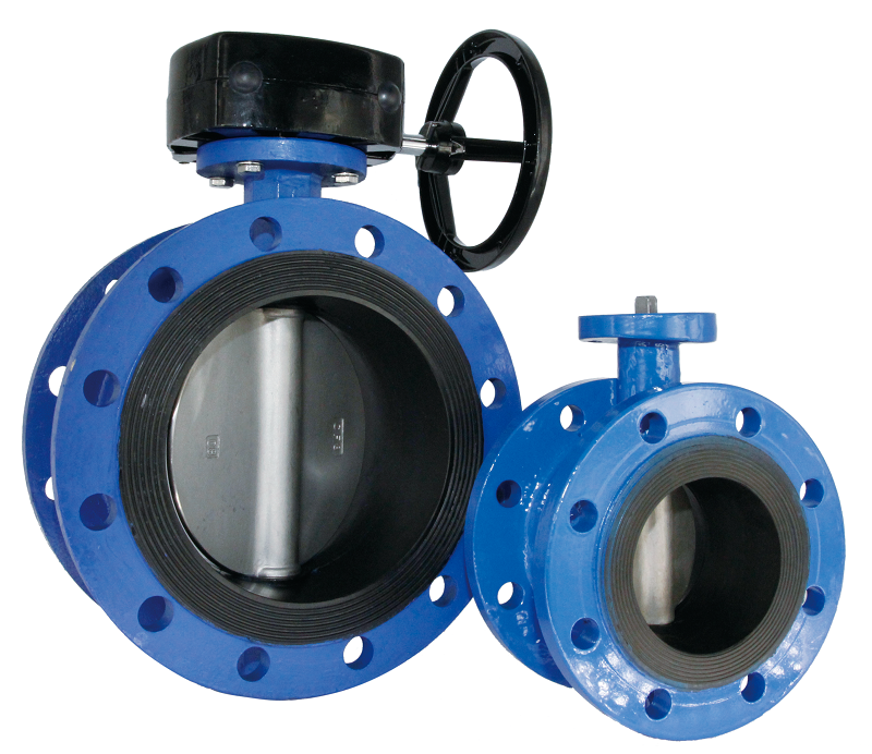 Flanged end short concentric body butterfly valve