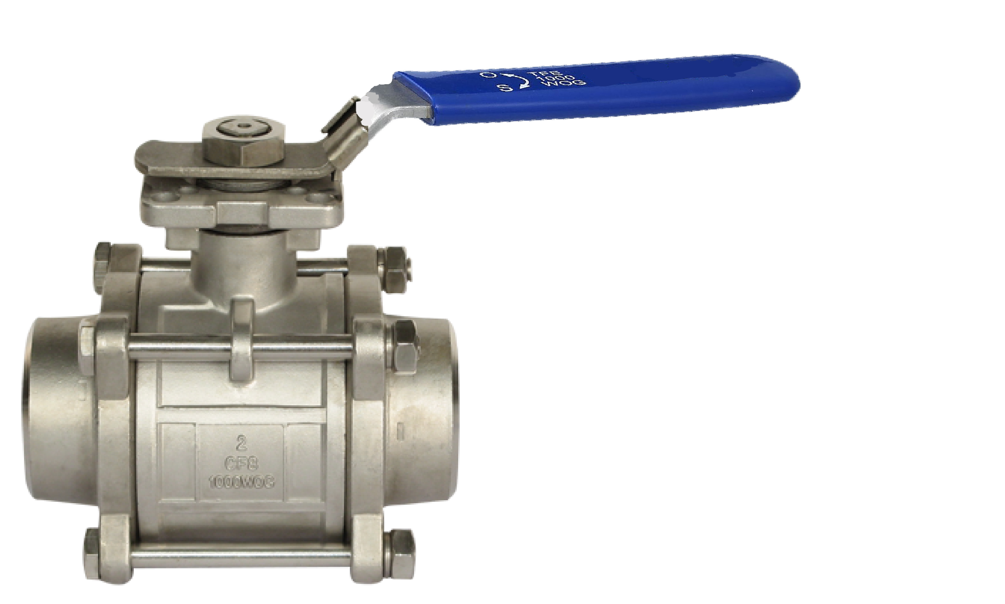 Butt weld end, three-piece body SS ball valve