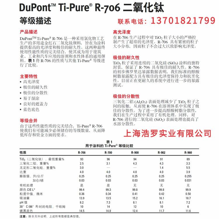 钛白粉杜邦R706