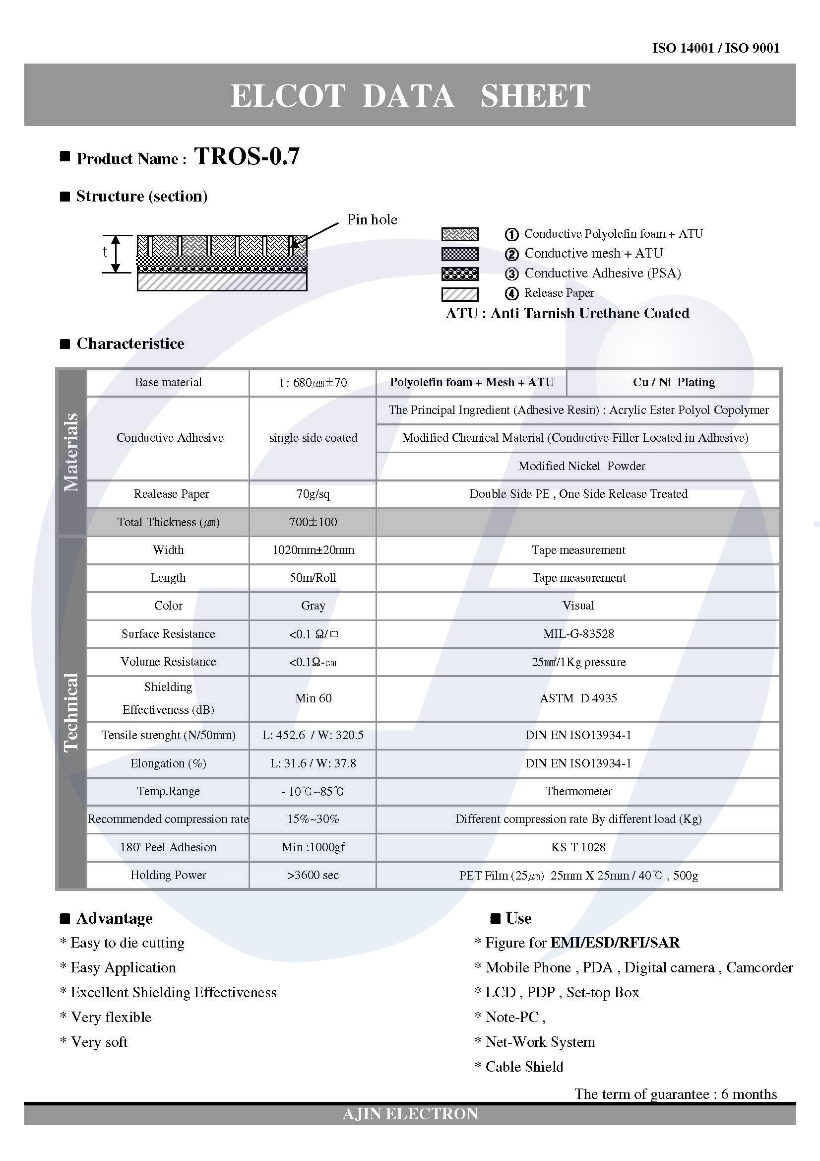 亚进电子导电PE泡棉,TROS-07