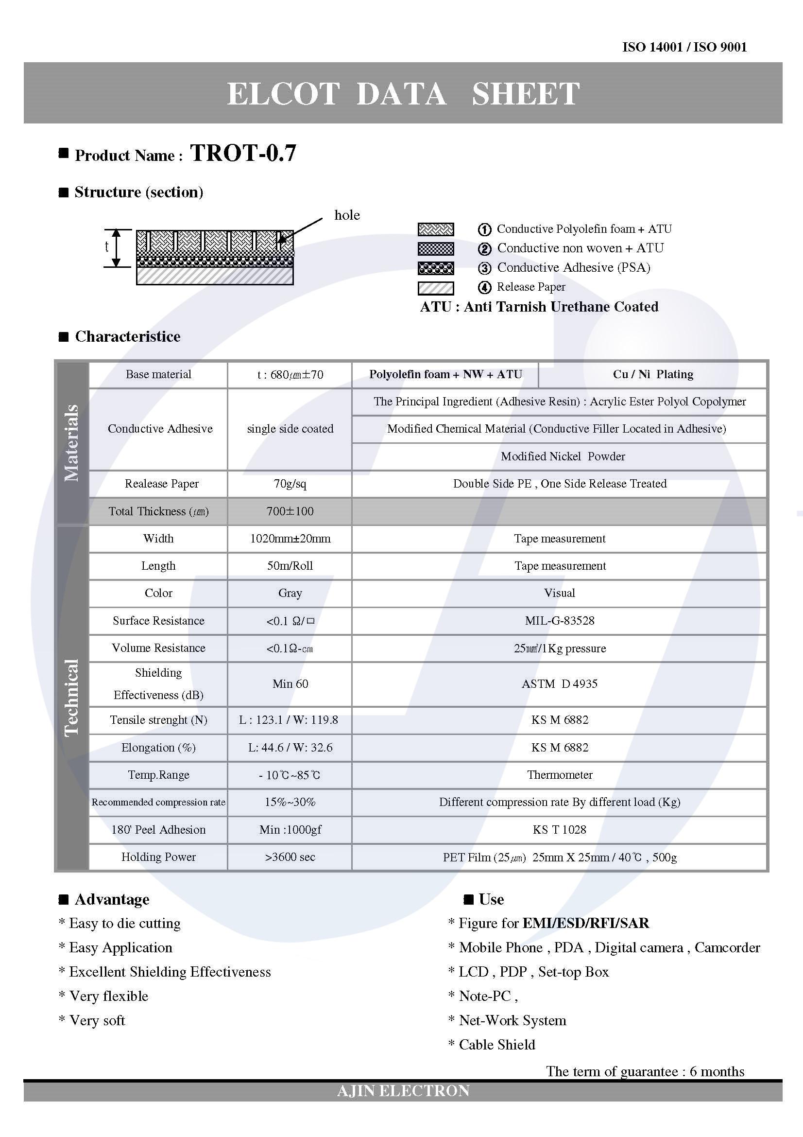 亚进电子导电PE泡棉,TROT-07