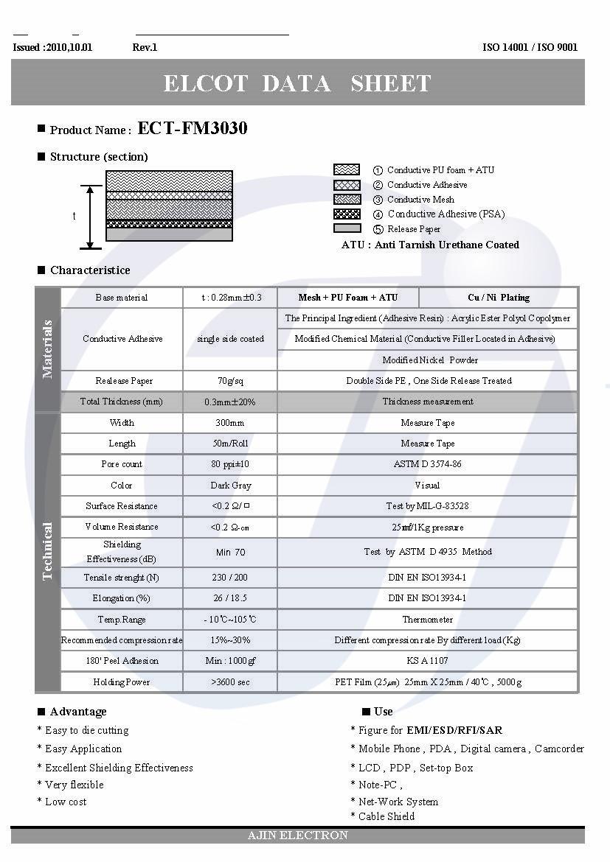 亚进全方位导电海绵,ECT-FM3030