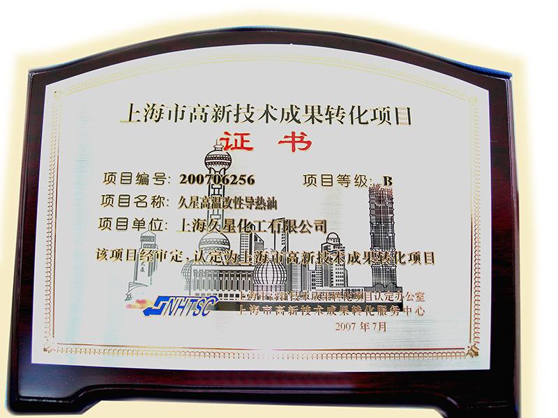 2007年成果轉化項目導熱油-獎牌