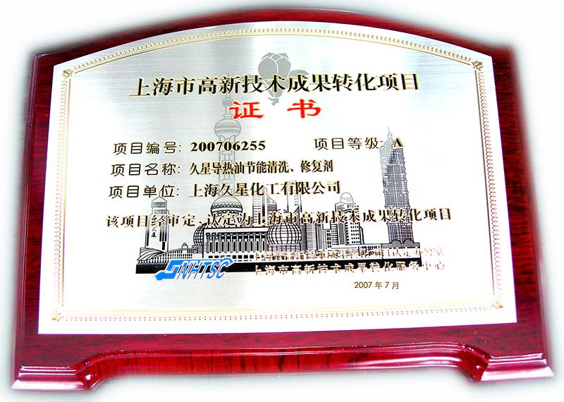 2007年成果轉化項目清洗劑-獎牌