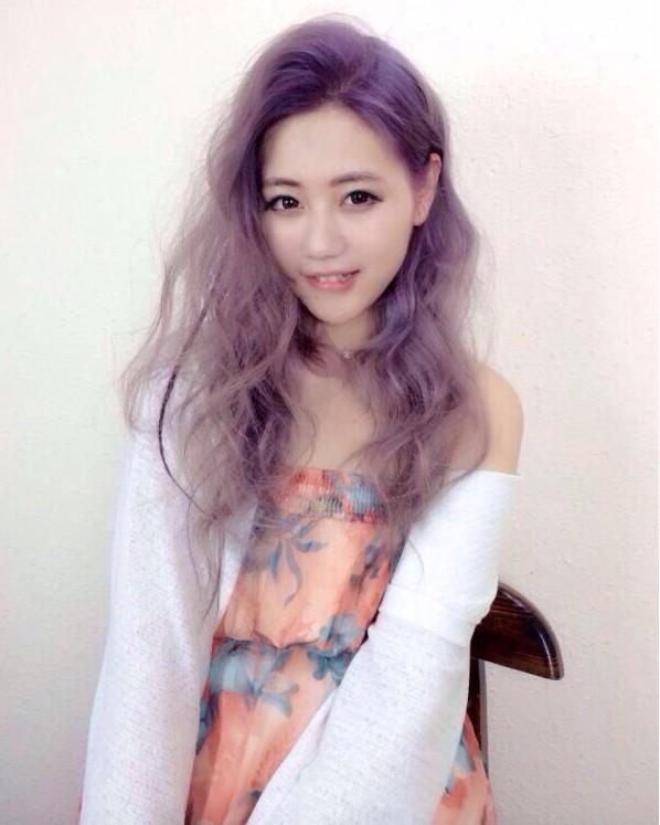 紫色凌乱柔情中长发