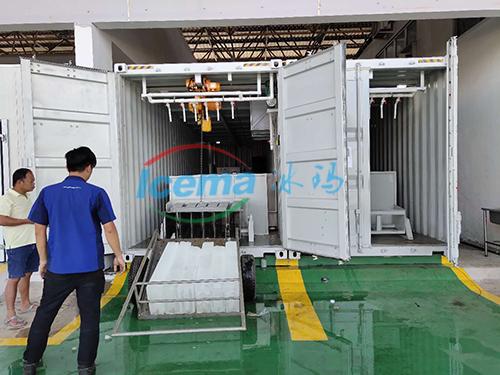 馬來西亞10噸集裝箱塊冰機安裝現場