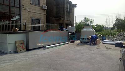 慈溪10噸鹽水式塊冰機安裝現場