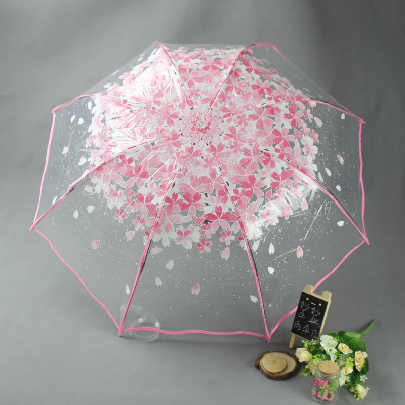 樱花透明三折伞