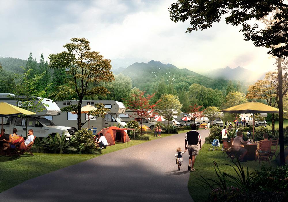 中国最美森林型养生度假房车营地 项目位置:四川雅安市宝兴县 规划面积:620亩 项目简介:项目地以东拉山大峡谷景区为依托,以生态统筹、自驾游助推、多元发展为理念,以景区+营地的发展模式,实现与山共浴、人与天融的人居体验。项目形成一带两区八组团一基地空间布局,设置接待服务组团、滨水休闲组团、综合服务组团、房车营地组团、情趣营地组团、自驾车营地组团、木屋营地组团、后勤配套组团。 项目进度:已通过评审