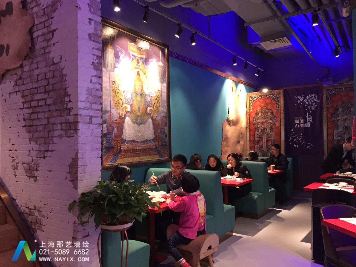 上海合生汇广场蒙羊天骄宴墙绘