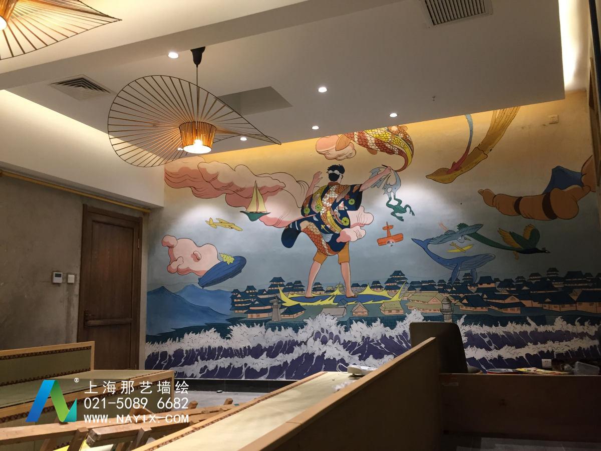 北京匠一日式风餐厅墙绘