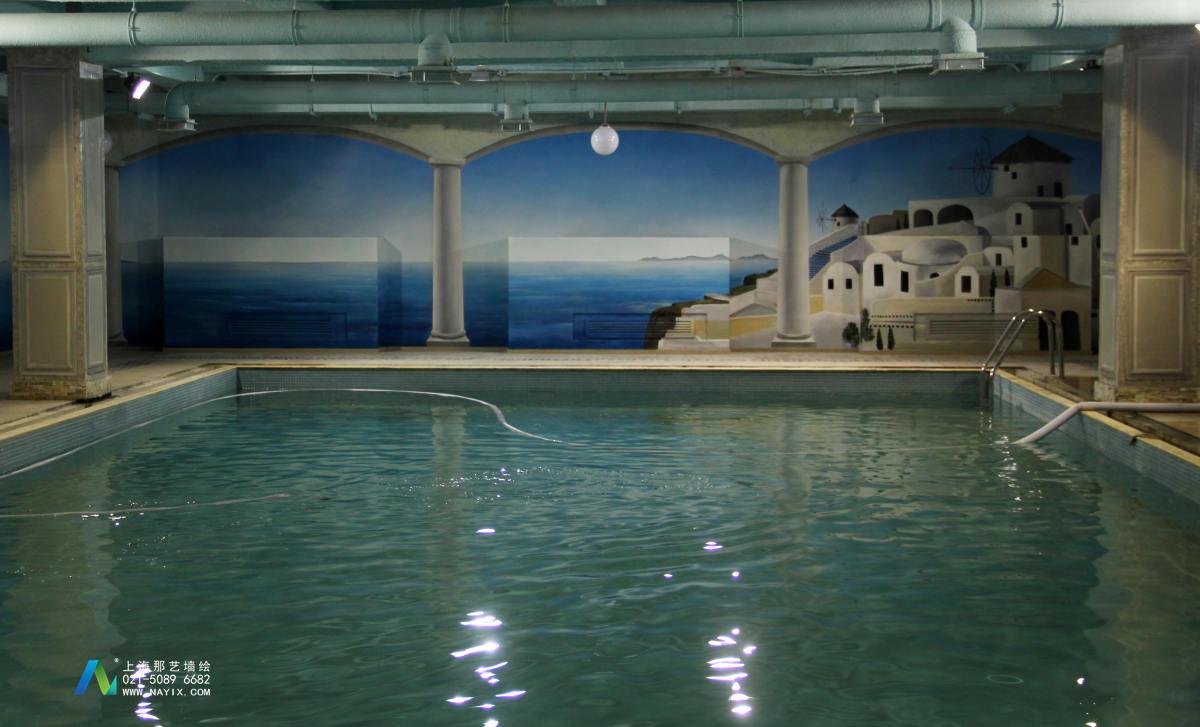 健身馆游泳池地中海风格墙绘