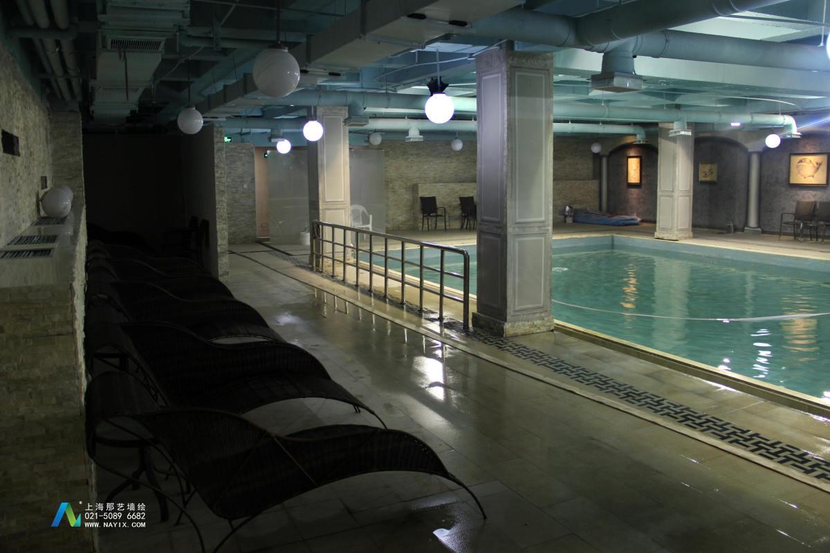 游泳池手绘墙