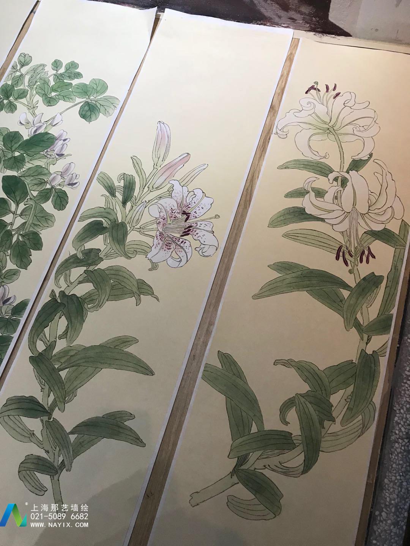 台湾饭店工笔花鸟画绘制