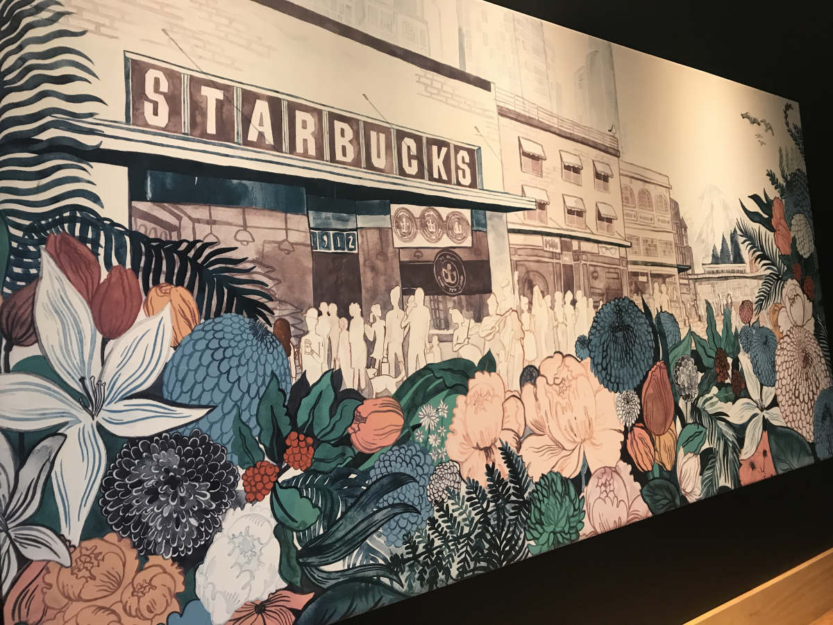 咖啡厅墙绘-你的咖啡厅可以画成这样