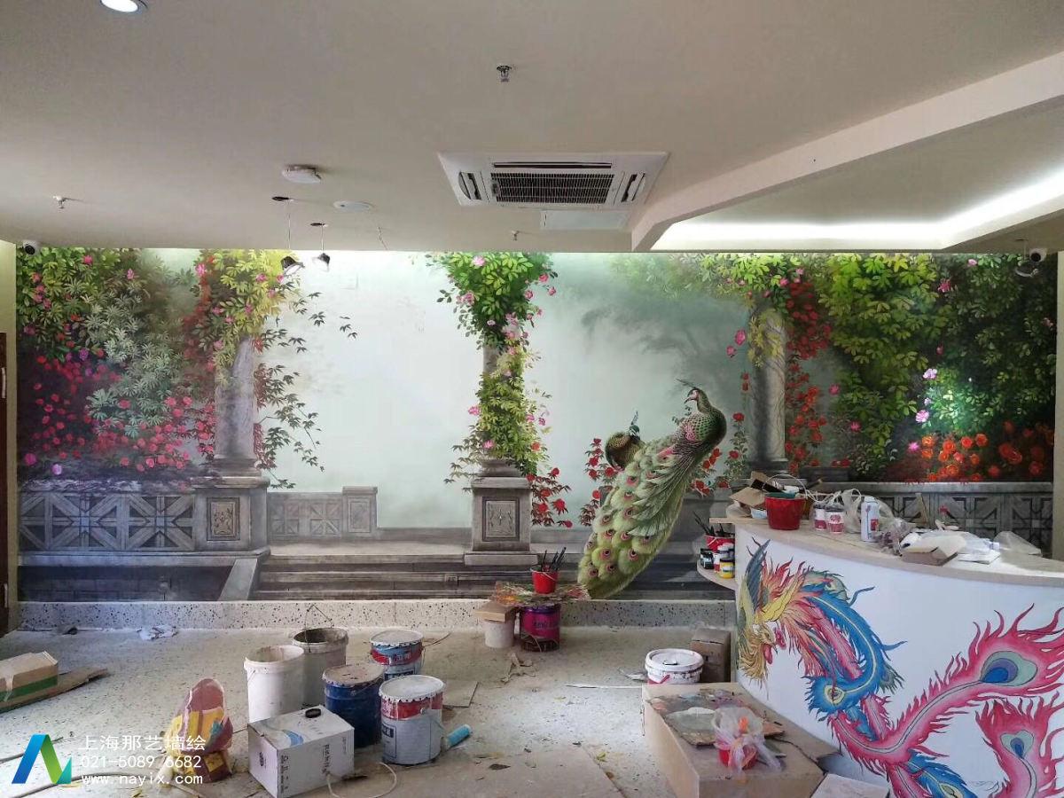 北京老门框爆肚涮肉创意花鸟墙绘