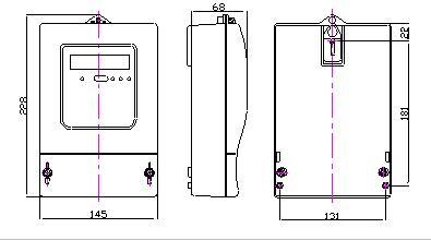 DTZ9898-W1三相电子式有功电能表安装尺寸图