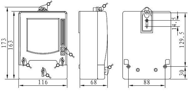 DDSY879-F单相电子式预付费电能表(多费率型)外形尺寸安装图