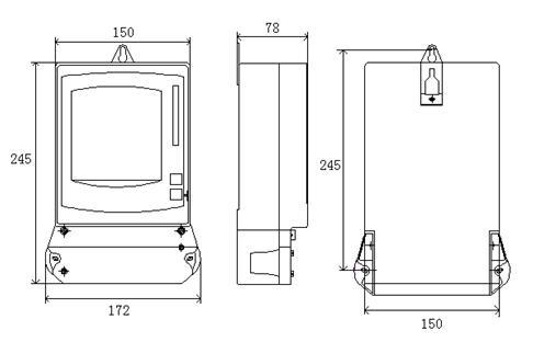 DTSY79-E型电子式三相预付费电能表外形尺寸图