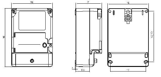 DDZY9898单相费控智能电能表安装尺寸图