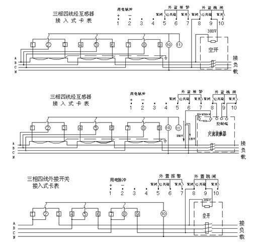 DTSY79-F型三相电子式预付费电能表(多费率型)接线图