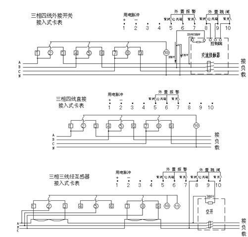 DTSY79-F型三相电子式预付费电能表(多费率型)线路图