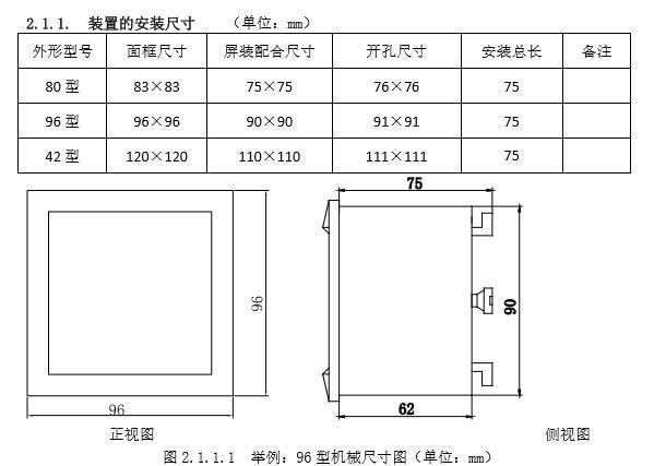 DH96-EHL3笔段式液晶网络多功能表机械尺寸安装图