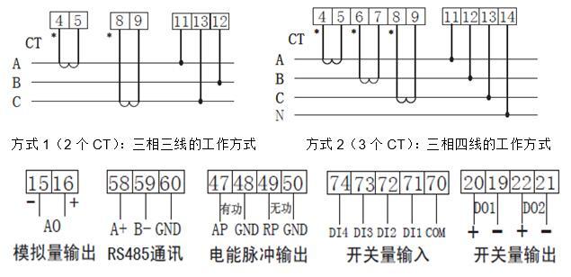 DH96-EHL3笔段式液晶网络多功能表接线图