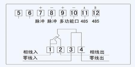 DDSY879单相电子式预付费电能表接线图