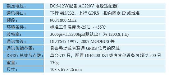 DH6200-GPRS3型 数据采集终端规格及技术参数
