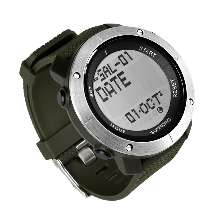 军绿电子运动手表