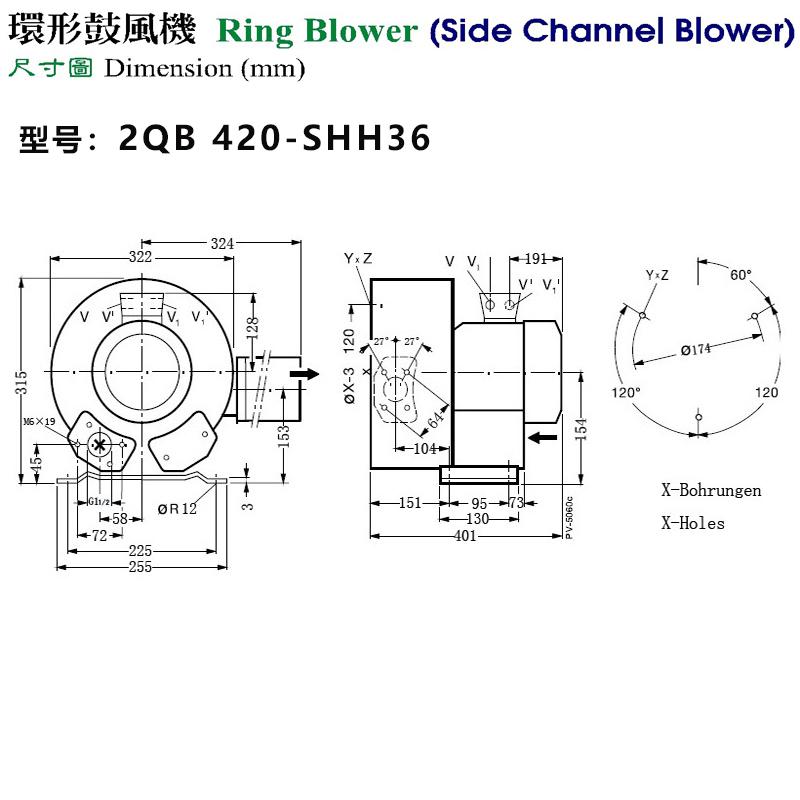 2QB 420-SHH36(1.5KW)外形尺寸