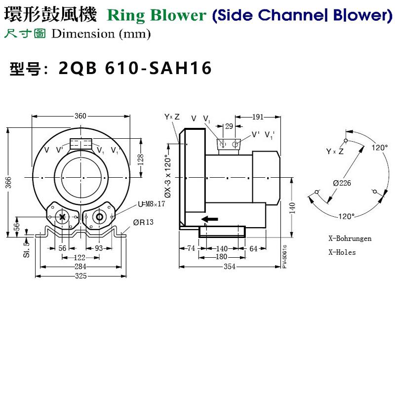 2QB 610-SAH16高压风机外形尺寸