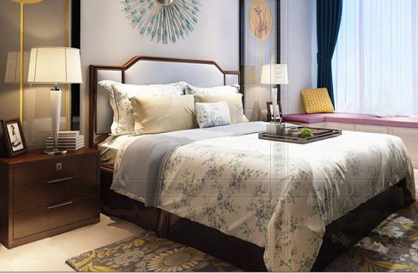 新中式实木双人床