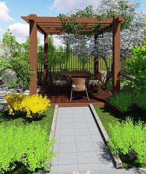 105㎡中式风格庭院设计效果图
