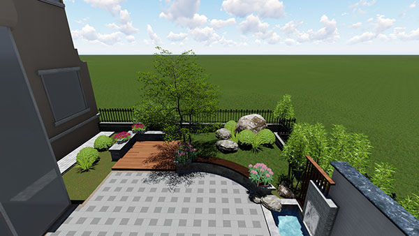 188㎡  中式别墅庭院景观设计效果图