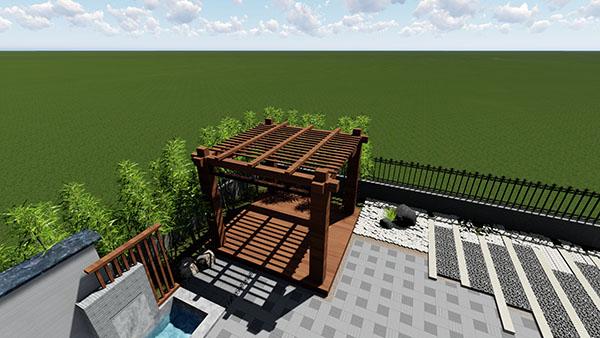 中式别墅庭院景观设计效果图