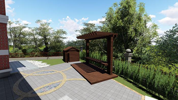 典雅型中式别墅庭院景观设计效果图