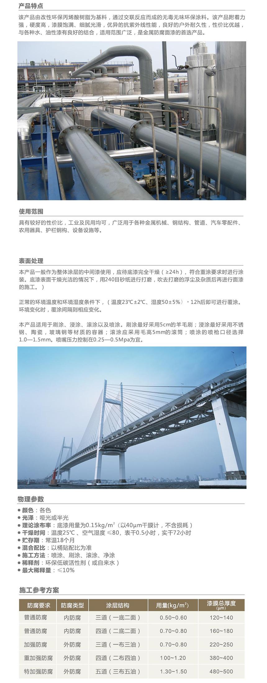 亚洲集团水性丙烯酸防腐麵漆